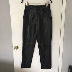 & Other Stories Black Leather Trouser Pants